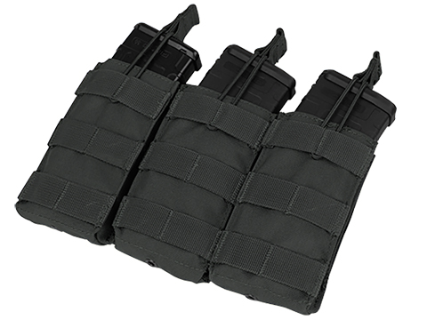 Condor MOLLE Pouches - Tactical Open Top Triple AR / M4 / M16 Mag Pouch - Black