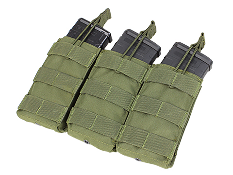 Condor MOLLE Pouches - Tactical Open Top Triple AR / M4 / M16 Mag Pouch (Color: OD Green)