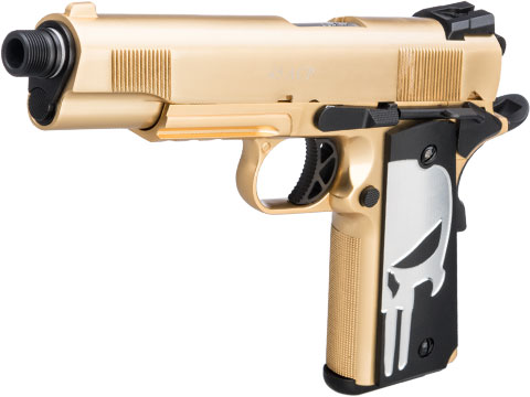 WE-Tech Custom Gold Plated Railed Frame 1911 Airsoft Gas Blowback Pistol w/ Aluminum Skull Grips