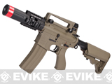 Evike Custom G&G Full Metal M4 Fighting Cat Airsoft AEG Rifle w/ Crane Stock - Tan