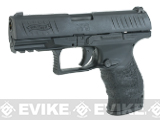 Evike Custom Full Steel Barrel and Slide Walther PPQ Airsoft Gas Blowback Pistol - Black