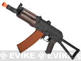 CYMA Stamped Metal AK74U w/ Folding Stock Airsoft AEG Rifle - Wood Furniture (Package: Gun Only)