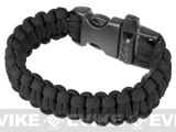 "Evike.com Survival Paracord KING Cobra Bracelet w/ QD Whistle Buckle - (Black / 7.5"")"