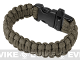 Evike.com Survival Paracord KING Cobra Bracelet w/ QD Whistle Buckle - (Sage / 7.5