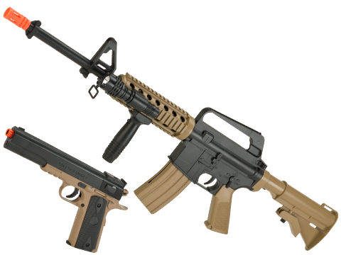 Colt Licensed M4A1 RIS and 1911 Spring Powered On Duty Kit (Color: Dark Earth)