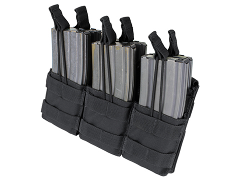 Condor Tactical Open Top Triple Stacker AR15 / M4 / M16 / 5.56 NATO Magazine Pouch (Color: Black)