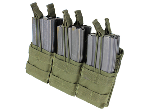 Condor Tactical Open Top Triple Stacker AR15 / M4 / M16 / 5.56 NATO Magazine Pouch (Color: OD Green)