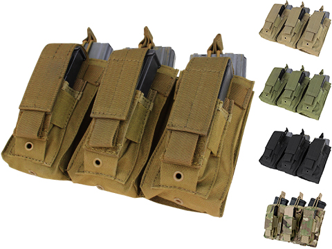 Condor Tactical Open Top Triple AR15 / M4 / M16 / 5.56 NATO w/ Triple Hook & Loop Flap Magazine Pouch