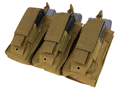 Condor Tactical Open Top Triple AR15 / M4 / M16 / 5.56 NATO w/ Triple Hook & Loop Flap Magazine Pouch (Color: Coyote Brown)