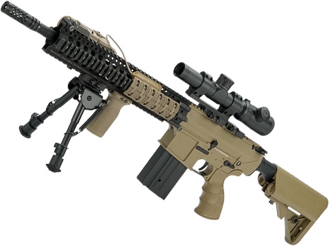 Evike.com Custom Daniel Defense SR25-K Precision Rifle Airsoft AEG (Model: Tan / Metal Receiver)