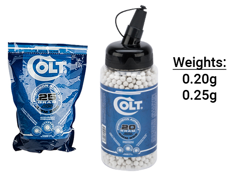 Colt Licensed Premium 6mm High Grade Precision Airsoft BBs (Weight: .25g / 4000 Rounds / White)