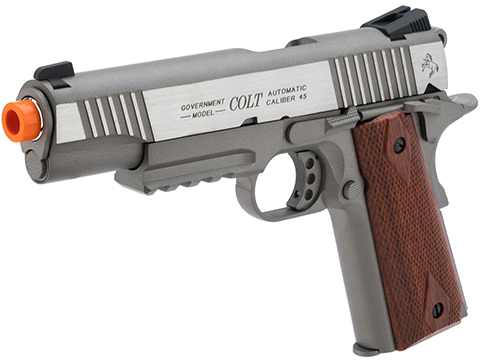 Colt Licensed 1911 Tactical Full Metal CO2 Airsoft Gas Blowback Pistol by KWC (Model: Stainless Railed)