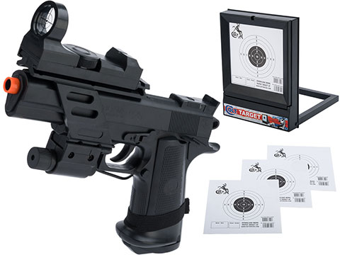 Colt Licensed MK IV Spring Powered Airsoft Pistol with Laser and Red Dot - Pistol / Target Package