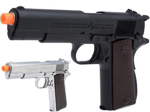 Cybergun Colt Licensed 1911A1 Airsoft Gas Blowback Pistol by AW Custom (Model: Black / CO2)