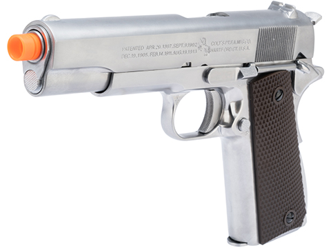 Cybergun Colt Licensed 1911A1 Airsoft Gas Blowback Pistol by AW Custom (Model: Silver / Green Gas)