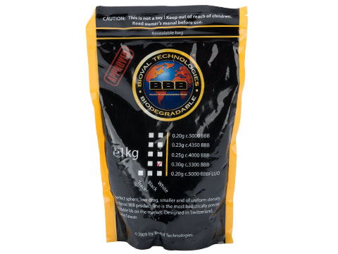 Bioval BBB Match Grade Biodegradable 6mm Airsoft BBs (Weight: .30g / 3300 Rounds / White)