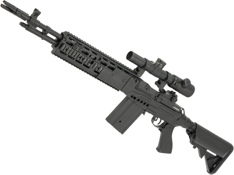 CYMA Sport Full Metal M14 EBR Designated Marksman Rifle Airsoft AEG (Color: Black / Crane Stock / Gun Only)