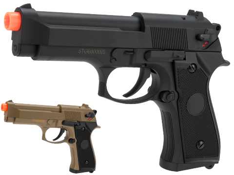 CYMA Advanced Full Auto Select Fire M9 Airsoft AEP Hand Gun Package