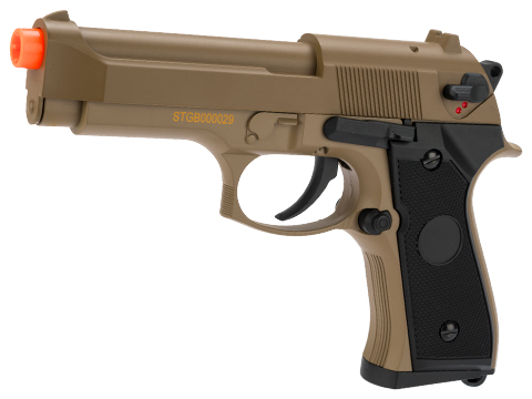 CYMA Advanced Full Auto Select Fire M9 Airsoft AEP Hand Gun Package (Color: Tan)