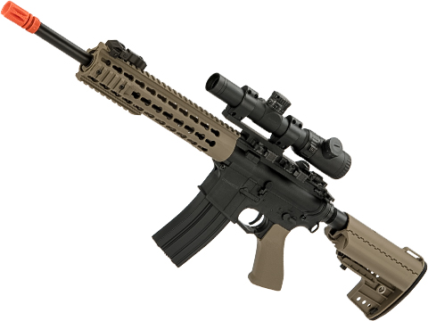 CYMA Polymer M4 Airsoft AEG with 10 Keymod Modular Handguard (Color: Tan)