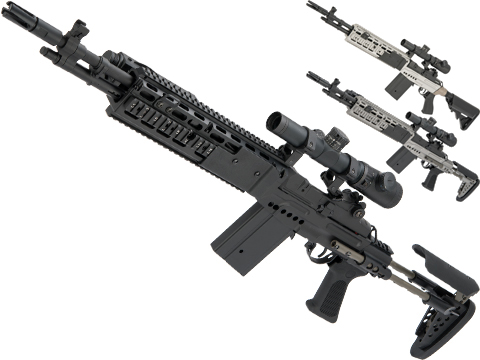 CYMA Full Metal M14 EBR Designated Marksman Rifle Airsoft AEG (Color: Black / EBR Stock)
