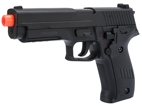 Swiss Arms Licensed Full Auto Select Fire 226 Airsoft AEP Hand Gun Package (Color: Black)
