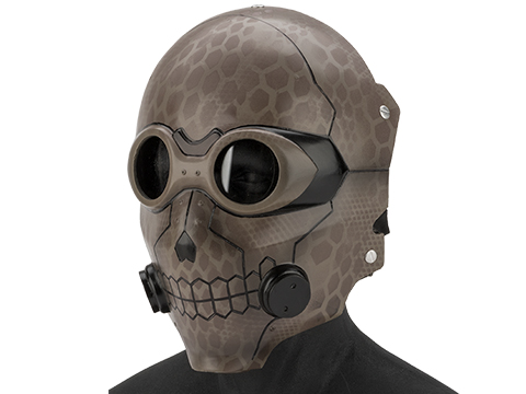 Evike.com R-Custom Fiberglass  Death Gun Full Face Mask  (Color: Tan Highlander Camo / Clear Lens)