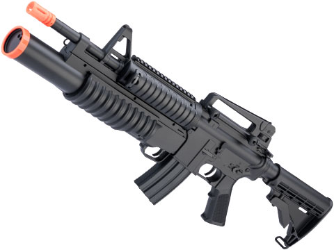 Double Eagle M813 Full Size M4 Airsoft Low Power Airsoft Electric Rifle w/ Underbarrel Launcher