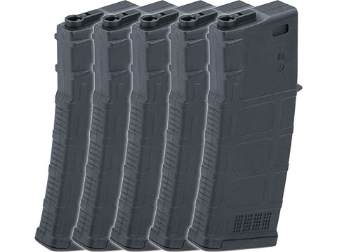 TMC Polymer Magazine for M4/M16 Series Airsoft AEG Rifles (Color: Black / 75rd Mid-Cap / Set of 5)