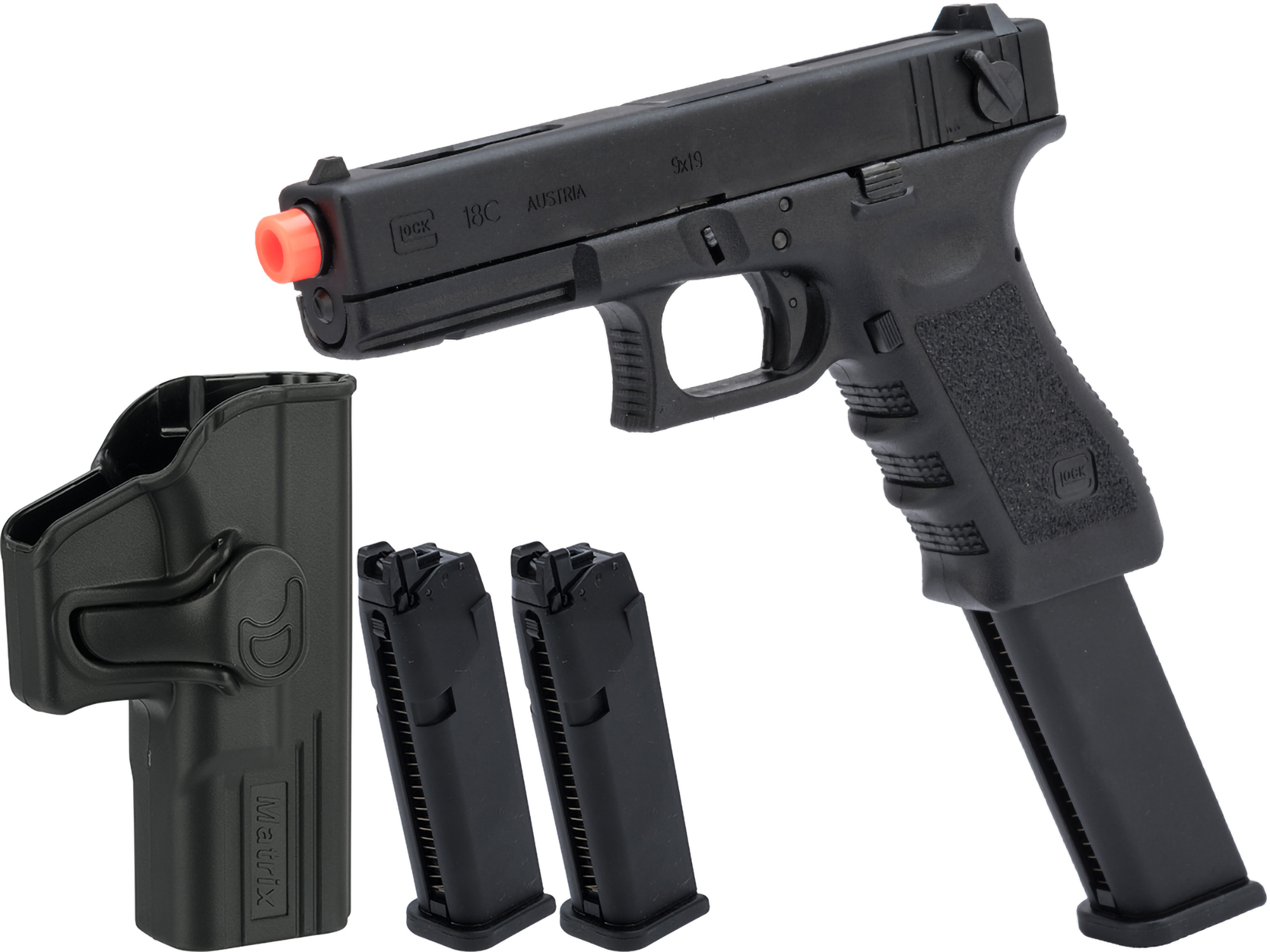 Elite Force Fully Licensed GLOCK 18C Select Fire Semi / Full Auto Gas Blowback Airsoft Pistol w/ Extended Mag (Type: Green Gas)