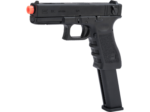 Elite Force Fully Licensed GLOCK 18C Select Fire Semi / Full Auto Gas Blowback Airsoft Pistol w/ Extended Mag (Type: Green Gas / Black)