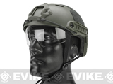 Matrix Basic PJ Type Tactical Airsoft Bump Helmet w/ Flip-down Visor (Color: Foliage Green)