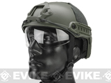 Emerson FAST Type Tactical Airsoft Helmet w/ Flip-down Visor (MICH Ballistic Type / Basic / Foliage Green)