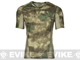 Emerson Skin-tight Base Layer Camo V-Neck Running Shirt - Arid Foliage