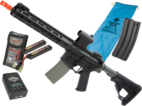 Helios Knight's Armament Licensed SR-16E Mod2 MLOK Airsoft AEG Rifle (Model: Carbine / Black / Go Airsoft Package)