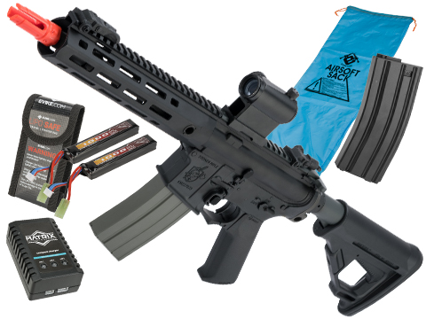 Helios Knight's Armament Licensed SR-16E Mod2 MLOK Airsoft AEG Rifle (Model: CQB / Black / Go Airsoft Package)