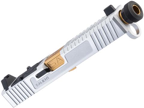 EMG/Salient Arms International Tier One CNC Slide Kit for Elite Force GLOCK 17 Gen 4 Gas Blowback Pistols (Model: RMR Cut / Silver / Gold Barrel)