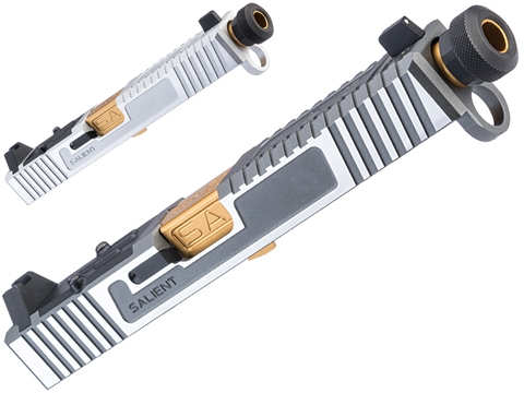EMG/Salient Arms International Tier One CNC Slide Kit for Elite Force GLOCK 17 Gen 4 Gas Blowback Pistols (Model: RMR Cut / Silver / Gold Barrel)