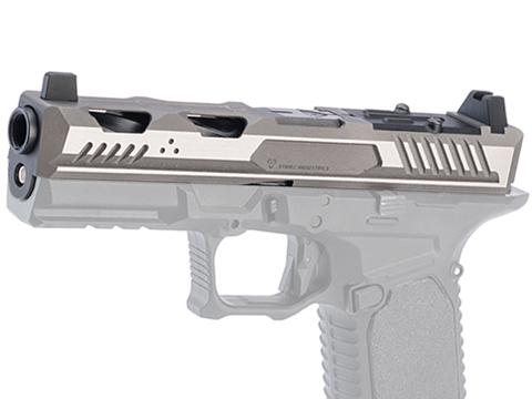 EMG Strike Industries Licensed ARK-17 Titanium Slide Set for EMG/Salient Arms International BLU Full Size Gas Blowback Airsoft Pistols (Color: Grey and Silver)