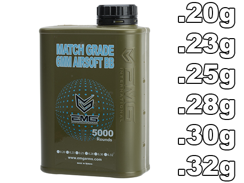 EMG International Match Grade 6mm Airsoft BBs - 5000 Rounds (Weight: .20g)