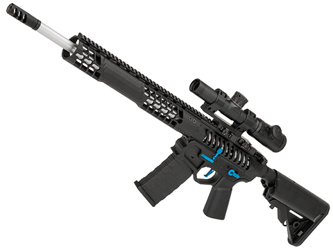 EMG F-1 Firearms BDR-15 3G AR15 2.0 eSilverEdge Full Metal Airsoft AEG Training Rifle (Model: Black - Blue / 350 FPS)