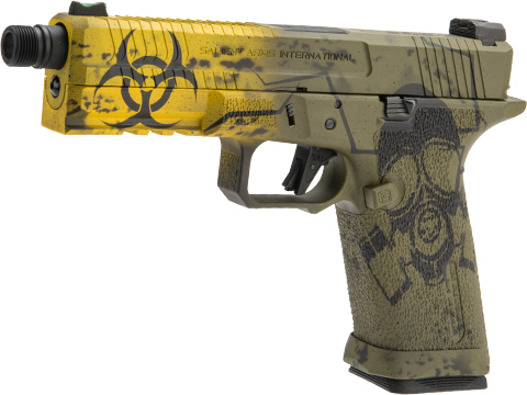 EMG Salient Arms International BLU Airsoft Training Weapon w/ Black Sheep Arms Custom Cerakote (Model: Aluminum Full Size / Black & Yellow Biohazard)