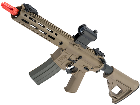 Helios Knight's Armament Licensed SR-16E Mod2 MLOK Airsoft AEG Rifle (Model: CQB / Tan)