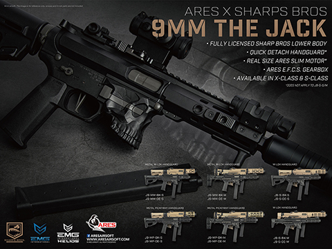 Helios / Sharps Bros Licensed Jack9 Polymer Receiver Advanced EFCS Pistol Caliber Carbine Airsoft AEG (Model: M-LOK / SBR / Black)