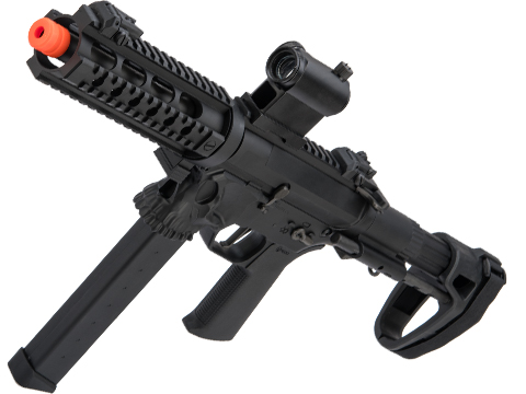 EMG / Sharps Bros Licensed Jack9 Metal Receiver Advanced EFCS Pistol Caliber Carbine Airsoft AEG (Model: Picatinny / SBR / Black)
