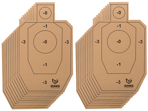 Professional Evike.com Silhouette Tactical Training Targets with Scoring Rings - Set of 20 (Model: EMG Numeric / 18x30)