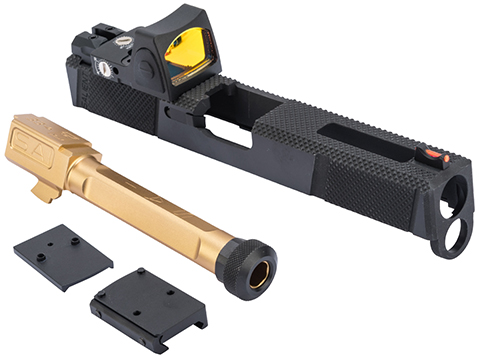 EMG SAI Utility Slide Set w/ Red Dot Sight for GLOCK 17 Series GBB Pistols (Type: Black Slide / Gold Barrel)
