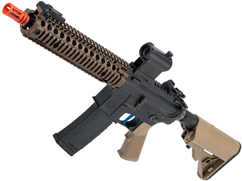 Evike Performance Shop Custom EMG Colt Licensed Daniel Defense M4A1 SOPMOD Block 2 Airsoft AEG Rifle (Model: MK18 MOD1 / Tan Furniture)