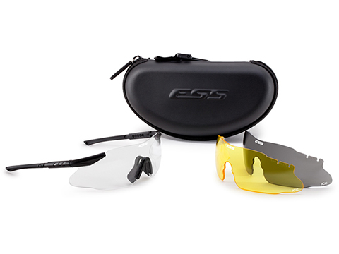 ESS ICS 3LS Ballistic Eyeshield Kit with Clear Yellow and Smoked Lenses Frame: Black)