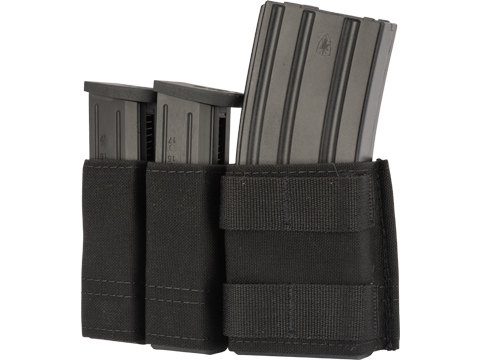 Esstac Side-BY-Side 1+2 5.56 / Double Stack Pistol KYWI Mag Pouch w/ WTF Straps (Color: Black)